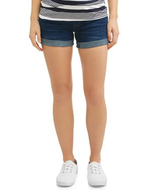 Maternity Over the Belly Stretch Denim Rolled Cuff Short