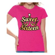 Awkward Styles Sweet Sixteen Shirt For Ladies Cute 16th Birthday Party Tee My Super