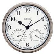 """Big Ben 12"""" Indoor/Outdoor Clock, Silver"""