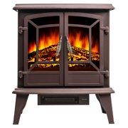"AKDY FP0077 20"" Electric Brown Fireplace Portable Freestanding Firebox Heater 3D Flame w/ Logs"