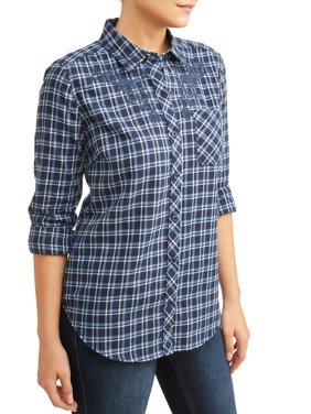 Women's Plaid Shirt with Embroidery