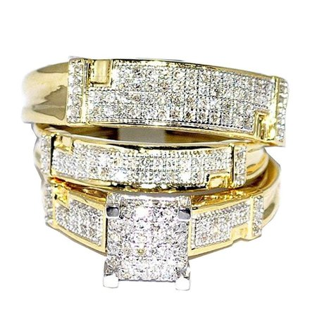 Midwest Jewellery Yellow Gold Trio Wedding Set Mens Women Rings Real 1/2cttw Diamonds Pave(I/j Color 0.5cttw) (9) (Womens Diamond Wedding Ring Sets)