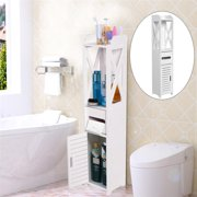 Bathroom Cabinet,YMIKO 80*15.5*15.5CM Bathroom Toilet Furniture Cabinet White Wood Cupboard Shelf Tissue Storage Rack