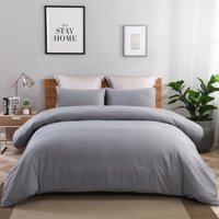 3 Piece Duvet Cover Set,Solid Washed Microfiber Duver Cover And Two Shams,Queen