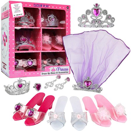 Click N' Play Girls Princess Dress Up Set, High Heels, Earrings, Ring and - Girls Princess Halloween Costumes