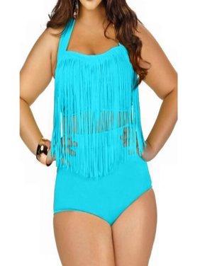22119edcfaae0 Product Image LELINTA Women s Two Piece Braided Fringe Top High Waist  Bottoms Bikini Set Swimwear Plus Size Swimsuit