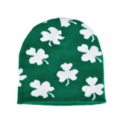 9f5f98f79ef0d Saint Patrick s Day Irish Green And White Shamrock Knit Winter Beanie Hat