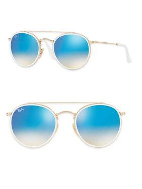 51mm Mirrored Round Double Bridge Sunglasses