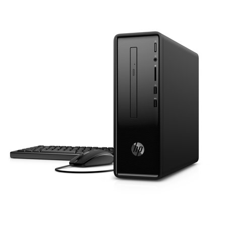 HP Slimline 290-A0020 Dark Black Desktop, Windows 10, Intel PentiumJ5005 Processor, 4GB Memory, 1TB Hard Drive, Intel UMA Graphics, DVD, Keyboard and Mouse
