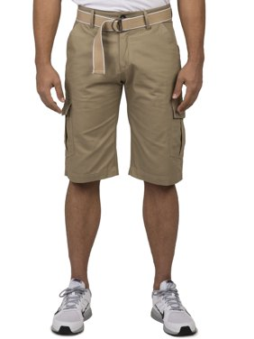 "Vibes Men's Khaki Cotton Canvas Cargo Shorts Matching Belt 13"" Length"