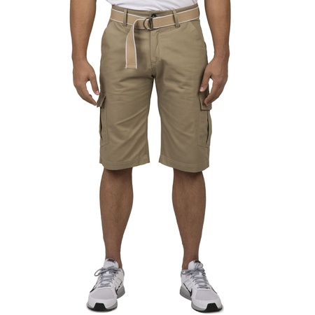 "Vibes Men Khaki Cotton Canvas Cargo Shorts Matching Belt 13"" Length"