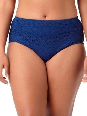 Women's Plus Solid Crochet Brief Swimsuit Bottom