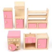 Meigar Dollhouse Furniture Set Miniature House Family Children Wooden Furniture Doll Set Kit Toys Accessories