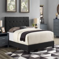 Zachary Upholstered Bed with Button Tufting, Multiple Sizes and Colors