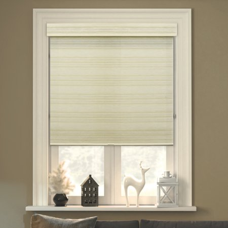 """Chicology Free-Stop Cordless Roller Shades, No Tug Privacy Window Blind, Cabana Sand (Privacy & Natural Woven) - 23""""W X 72""""H"""