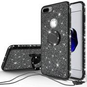 Apple iPod Touch 6 Case,iPod 6/5 Case,Glitter Cute Phone Case Girls Kickstand,Bling Diamond Bumper Ring Stand Protective Apple iPod Touch 5/6th Generation Case for Girl Women -Black