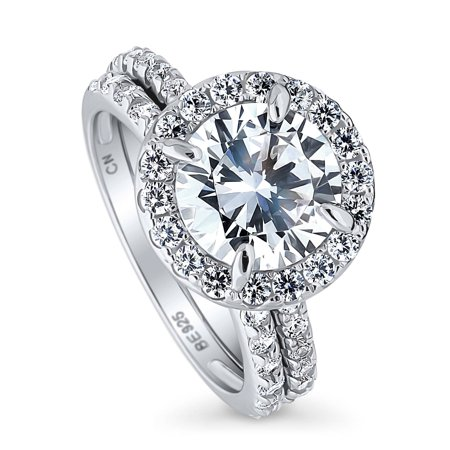 BERRICLE Rhodium Plated Sterling Silver Cubic Zirconia CZ Halo Engagement Ring Set 3.76 CTW Size 9.5