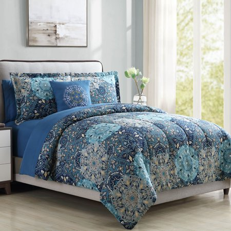 Bold Printed Damask Reversible 8 Piece Bed In A Bag