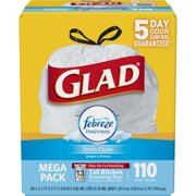 Glad OdorShield Tall Kitchen Drawstring Trash Bags - Febreze Fresh Clean - 13 Gallon - 110 ct