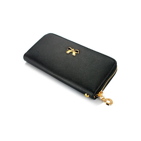 New Fashion Lady Bow-Tie Zipper Around Women Clutch Leather Long Wallet Card Holder Case Purse Handbag Bag Party (Brighton Organizer Wallet)