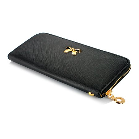 New Fashion Lady Bow-Tie Zipper Around Women Clutch Leather Long Wallet Card Holder Case Purse Handbag Bag Party Organizer - Flat Wallet Purse