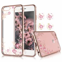 Apple iPhone 8 Plus / 7 Plus / 6s Plus / 6 Plus / X / 8 / 7 / 6s / 6 Cases, Njjex Ultra Clear hybrid Floral Printed Flower Sparkle Glitter SoftTPU Bumper Cases Cover