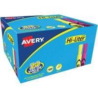 Avery HI-LITER Desk-Style Highlighter, Chisel, Assorted Colors, 24/Pack