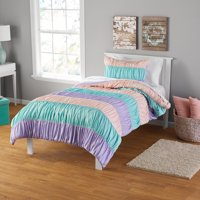 Your Zone Ruched Stripe Comforter and Sham Set