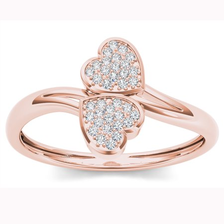 1/10ct TDW Diamond 10K Rose Gold Two Heart Wrap Ring