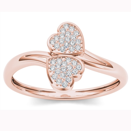 1/10ct TDW Diamond 10K Rose Gold Two Heart Wrap Ring (Tiffany Rose Ring)