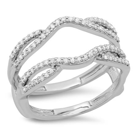 Dazzlingrock Collection 0.35 Carat (ctw) 10K White Diamond Wedding Band Enhancer Guard Double Ring 1/3 CT, White Gold, Size 8 - Onyx Diamond Enhancer