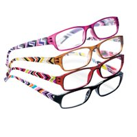 Fashion Reader Glasses with Multicolored Geometrical Design on Arms - Set of 4, Precision-Crafted Lenses, 3.0X, Multicolored
