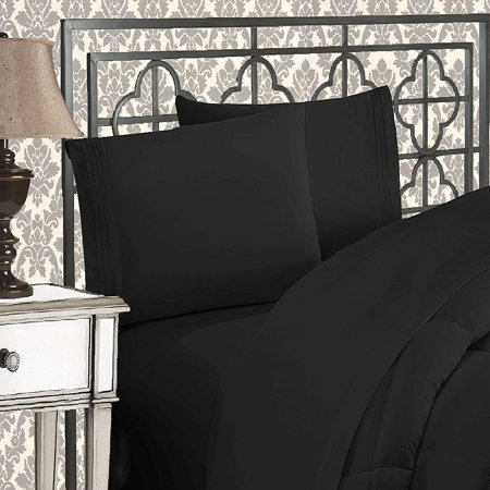 - Elegant Comfort Luxury 2-Piece Pillowcases Silky-Soft Wrinkle Resistant - Standard Size, Black