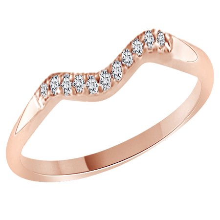 - Round Cut White Cubic Zirconia Curved Wedding Band Ring In 14k Rose Gold Over Sterling Silver