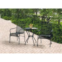 Mainstays Jefferson Wrought Iron 3-Piece Bistro Set, Black, Seats 2