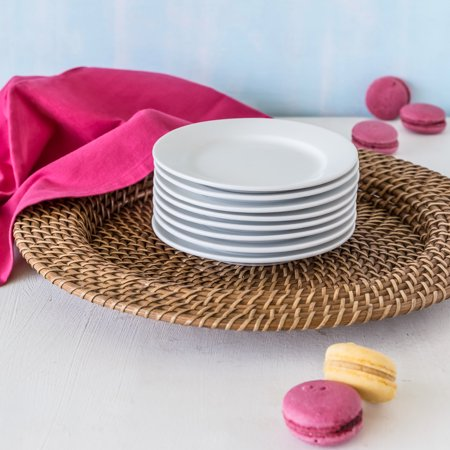Better Homes & Gardens Porcelain Round Appetizer Plates, White, Set of 8 (Appetizer Boat)