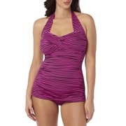 0c43b12d066a9 Womens Slimming Shirred Glam Sheath One-Piece Swimsuit