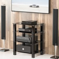 FITUEYES AV Shelf Media Component Stand Audio Cabinet with Glass Shelf AS406002GB