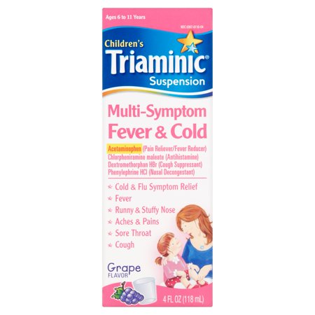 - Triaminic Children's Cold Relief Multi-Symptom Fever & Cold Syrup, Grape Flavor, 4.0 fl oz