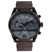 fc97b9c853b MINI Focus Fashion 3ATM Water-Proof Quartz Men Watch Genuine Leather Sports  Military Style Chronograph