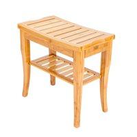 UBesGoo Medical Spa Storage Teak Bamboo Shower Bench Safety Bath Chair Stool Wood Shelf