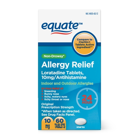 - Equate 24 Hour Non-Drowsy Allergy Relief Loratadine Tablets, 10 mg, 60 Count