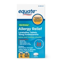 Equate 24 Hour Non-Drowsy Allergy Relief Loratadine Tablets, 10 mg, 60 Count