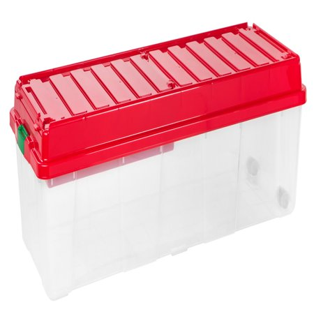 Multi Compartment Wheeled Tote (IRIS Holiday Tree Storage Tote with Compartment Lid, Red )
