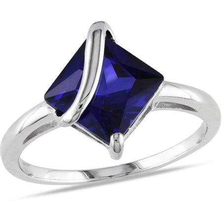 - 2-4/5 Carat T.G.W. Square-Cut Created Blue Sapphire Sterling Silver Cocktail Ring
