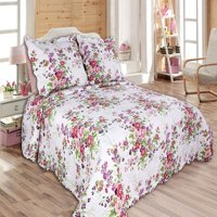 "All for You 3pc Reversible Quilt Set, Bedspread, and Coverlet with Flower Prints-4 different sizes-Pink and Purple color ( full/queen 86""x 86"" with standard pillow shams)"
