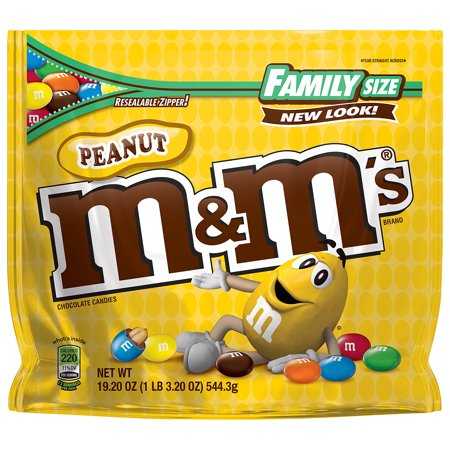 M&M's Peanut Milk Chocolate Candy, 19.2 Oz. (Chocolate Peanut Candy Bar)