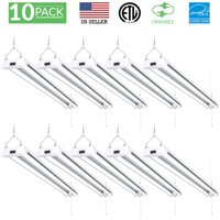 Sunco Lighting 10 Pack 4ft 48 Inch LED Utility Shop Light 40W (260W Equivalent) 5000K Kelvin Daylight, 4100 Lumens, Double Integrated Linkable Garage Ceiling Fixture, Clear Lens - Energy Star / ETL