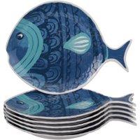 Mainstays Summer Entertaining Melamine Fish Figural Plate, 6pk