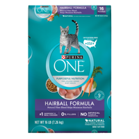 Purina ONE Hairball Formula Adult Dry Cat Food, 16 lb